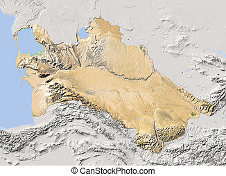 Turkmenistan, shaded relief map. Colored according to...