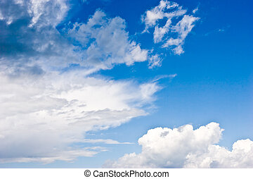 rainclouds - nature series: blue sky with white clouds and...
