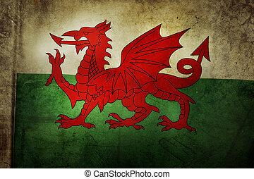 Flag - Welsh flag. Grunge effect
