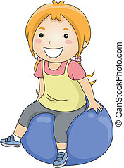 Exercise Ball Girl - Illustration of a Little Girl Sitting...