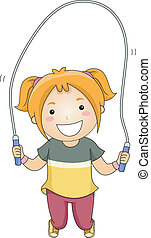 Jumping Rope Girl - Illustration of a Little Girl Jumping...