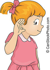 Listening Girl - Illustration of a Little Girl with Her Hand...