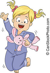 Pajama Jump Girl - Illustration of a Little Girl in Pajamas...