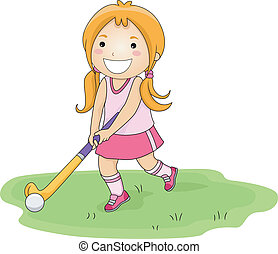 Field Hockey - Illustration of a Little Girl Playing Field...