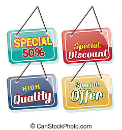 sales - four colored icons with some text for sales purposes
