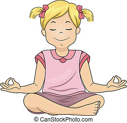 Meditating Girl - Illustration of a Little Girl Meditating...