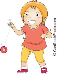 Yoyo Girl - Illustration of a Little Girl Happily Playing...