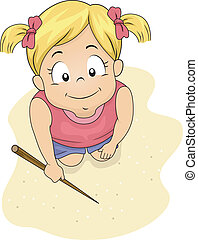 Writing on Sand - Illustration of a Little Girl Writing on...