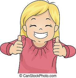 Thumbs Up - Illustration of a Little Girl Giving Two Thumbs...
