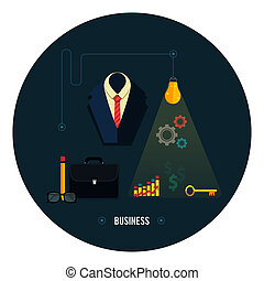 Business concept Tools, interier, online, documents - Icons...