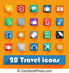 Office and business Travel flat icons for Web and Mobile Applications