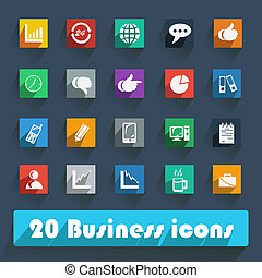 Basic Flat icon set for Web and Mobile Application. News,...