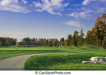 Golf Course with Tree Lined Horizon - Green Golf Course with...