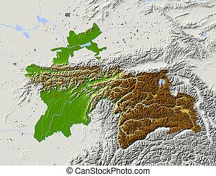 Tajikistan, shaded relief map.