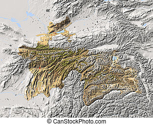 Tajikistan, shaded relief map. Colored according to...
