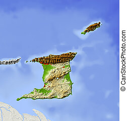 Trinidad and Tobago, shaded relief map Colored according to...