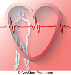Illustration of man with heart beat