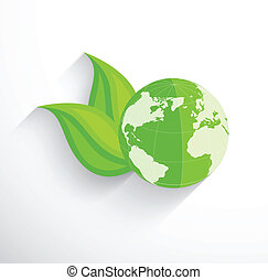 Earth with two leaves