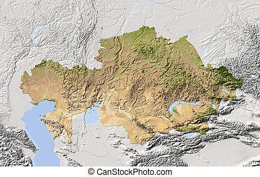 Kazakhstan, shaded relief map Colored according to...