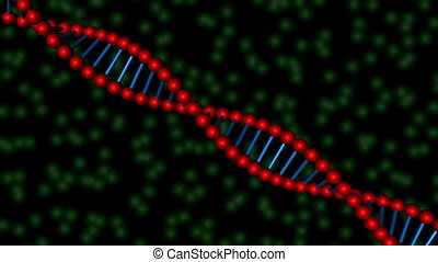 DNA 07 - 3D strand of DNA over a green cellular background...