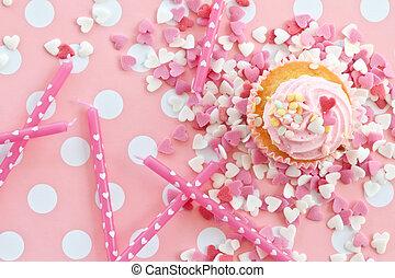 Cor-de-rosa, pequeno, gear,  Cupcake