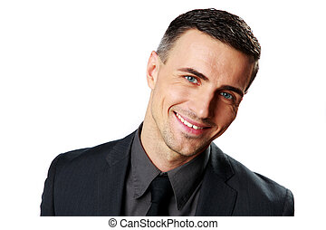 Portrait of a happy businessman isolated on a white background