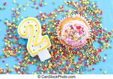 pequeno, Cupcake, Cor-de-rosa, gear