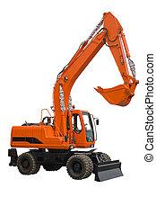 Orange wheel excavator with bucket beam and bulldozer blade