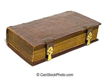 cuero, duro, cubierta, viejo, grande, libro, aislado,...