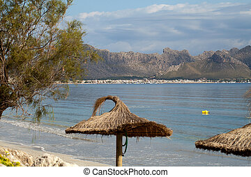 Cane beach umbrella in Pollenca Port Majorca, Spain