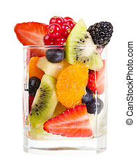 glass of fruit salad on white background
