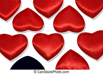 Red hearts and one black heart - Rows of Red hearts and one...