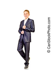 teenage boy in suit isolated on a white background