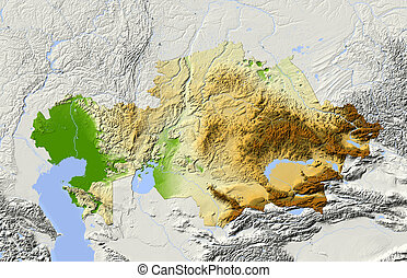 Kazakhstan, shaded relief map Colored according to elevation...