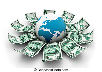 Globe and dollar currency