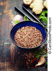 wild rice in ceramic bowl and ingredients - wild rice in...