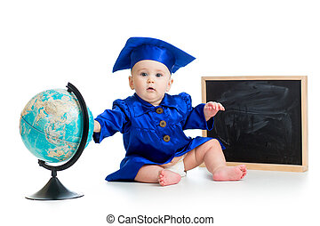 Baby in academician clothes with globe and chalkboard