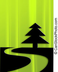 pine - Black silhouette of pine on green background
