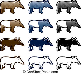 Tapir - Various tapir cartoon icon set