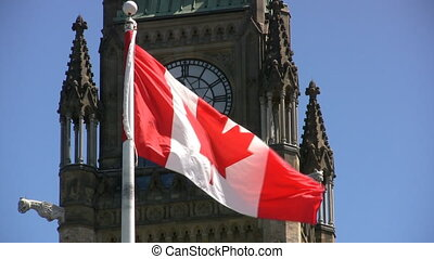 Canadian Flag And Parliament - Canadian Maple Leaf Flag...