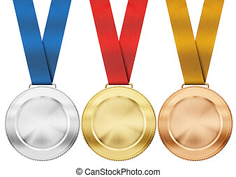 gold, silver, bronze medals with ribbon isolated on white