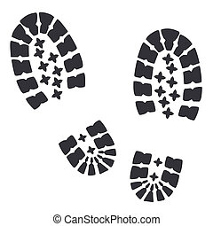 Soldiers military boots traces on a white background Vector...