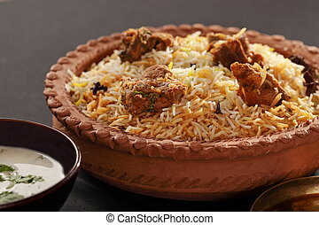 Mutton Gosht Biryani - A rice preparation with mutton and...
