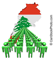Lines of people with Lebanon map flag illustration