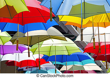 Colorful umbrellas 2 - Collection colorful open large...