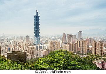 Taipei Skyline - Taiwan - View of Taipei`s business district...