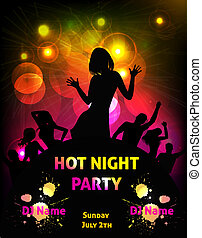 Disco party grunge poster template - Poster template for...
