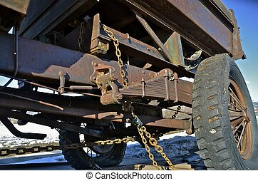 Chassis of an old Truck - The frame, box, and chassis of a...