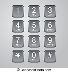 User interface keypad for phone. Vector illustration