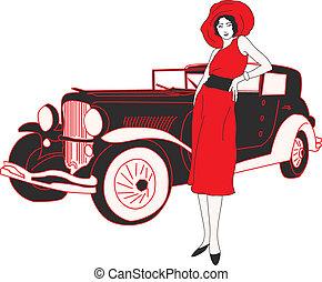 Seventies fashion woman silhouette - Seventies fashion woman...